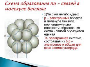 Схема образования пи – связей в молекуле бензола 1)За счет негибридных р – элект