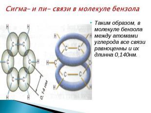Сигма– и пи- связи в молекуле бензола Таким образом, в молекуле бензола между ат