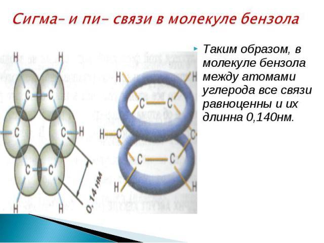 Сигма– и пи- связи в молекуле бензола Таким образом, в молекуле бензола между атомами углерода все связи равноценны и их длинна 0,140нм.