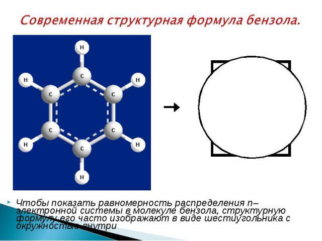 Современная структурная формула бензола. Чтобы показать равномерность распределения п–электронной системы в молекуле бензола, структурную формулу его часто изображают в виде шестиугольника с окружностью внутри