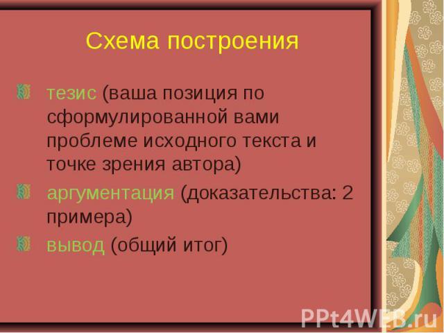 Схема построениятезис (ваша позиция по сформулированной вами проблеме исходного текста и точке зрения автора) аргументация (доказательства: 2 примера) вывод (общий итог)