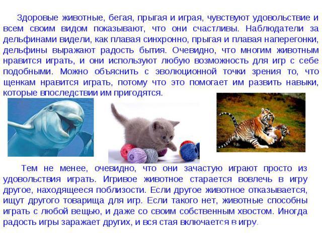 Здоровые животные, бегая, прыгая и играя, чувствуют удовольствие и всем своим видом показывают, что они счастливы. Наблюдатели за дельфинами видели, как плавая синхронно, прыгая и плавая наперегонки, дельфины выражают радость бытия. Очевидно, что мн…