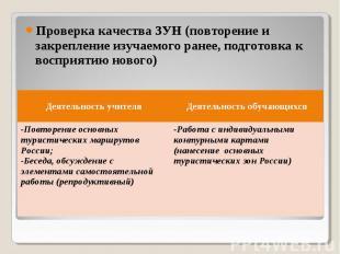 Проверка качества ЗУН (повторение и закрепление изучаемого ранее, подготовка к в