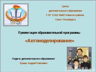 Центр дополнительного образования ГОУ СОШ №667 Невского района Санкт-Петербурга