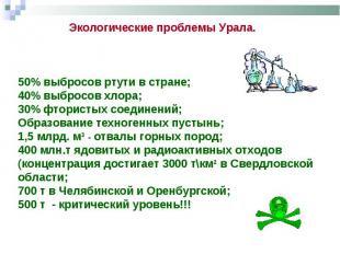 Экологические проблемы Урала. 50% выбросов ртути в стране; 40% выбросов хлора; 3
