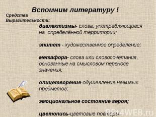 Вспомним литературу ! Средства Выразительности: диалектизмы- слова, употребляющи