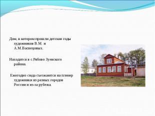 Дом, в котором прошли детские годы художников В.М. и А.М.Васнецовых. Находится в