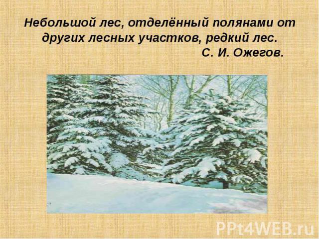 Небольшой лес, отделённый полянами от других лесных участков, редкий лес. С. И. Ожегов.