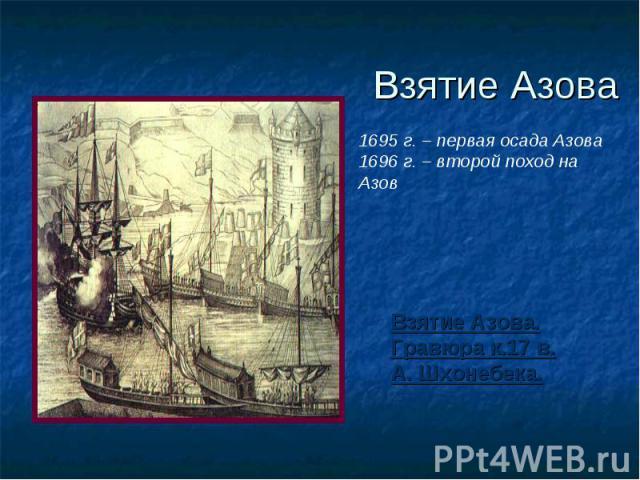 Взятие Азова 1695 г. – первая осада Азова 1696 г. – второй поход на Азов Взятие Азова. Гравюра к.17 в. А. Шхонебека.