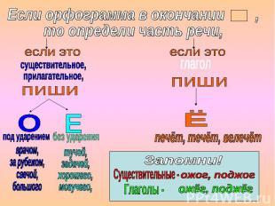 Если орфограмма в окончании , то определи часть речи, существительное, прилагате