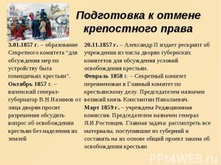 Подготовка к отмене крепостного права 3.01.1857 г. – образование Секретного коми