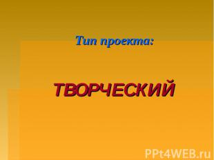 Тип проекта: ТВОРЧЕСКИЙ