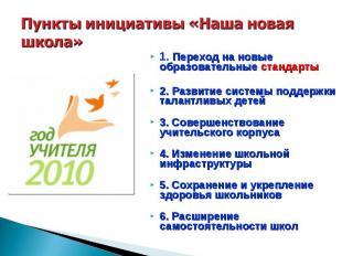 Пункты инициативы «Наша новая школа» 1. Переход на новые образовательные стандар