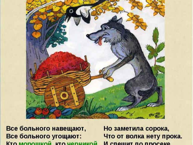 Все больного навещают, Все больного угощают: Кто морошкой, кто черникой, Кто сушёной земляникой. Даже волк помочь не прочь, Думал, думал, как помочь? К муравейнику повёз Волчьих ягод целый воз. Но заметила сорока, Что от волка нету прока. И спешит п…