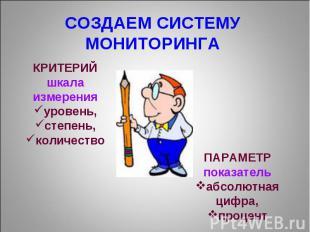 СОЗДАЕМ СИСТЕМУ МОНИТОРИНГА КРИТЕРИЙ шкала измерения уровень, степень, количеств