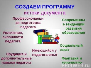 СОЗДАЕМ ПРОГРАММУ истоки документа Профессиональная подготовка педагога Увлечени