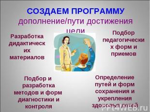 СОЗДАЕМ ПРОГРАММУ дополнение/пути достижения цели Разработка дидактических матер