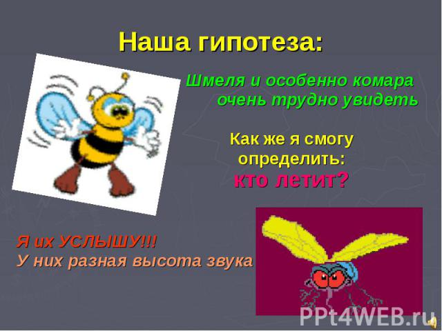Наша гипотеза: Шмеля и особенно комара очень трудно увидеть Как же я смогу определить: кто летит? Я их УСЛЫШУ!!! У них разная высота звука