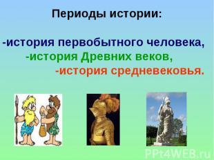 Периоды истории: -история первобытного человека, -история Древних веков, -истори