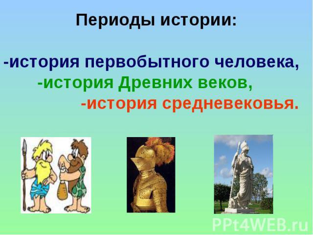 Периоды истории: -история первобытного человека, -история Древних веков, -история средневековья.