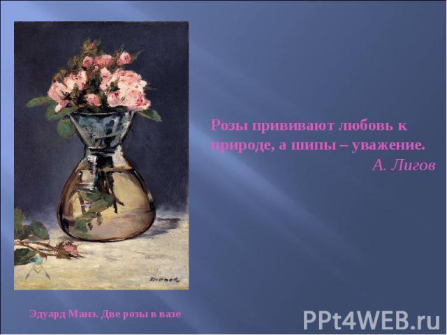 Розы прививают любовь к природе, а шипы – уважение. А. Лигов Эдуард Манэ. Две розы в вазе
