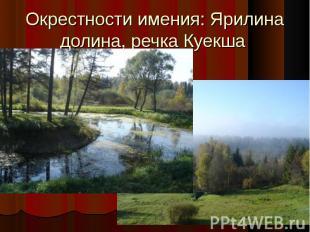 Окрестности имения: Ярилина долина, речка Куекша