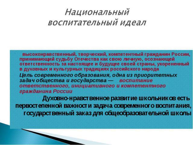 Национальный воспитательный идеал  высоконравственный, творческий, компетентный гражданин России, принимающий судьбу Отечества как свою личную, осознающей ответственность занастоящее ибудущее своей страны, укорененный вдуховных икультурных трад…