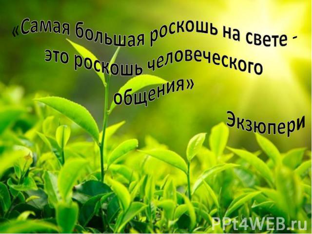 «Самая большая роскошь на свете - это роскошь человеческого общения» Экзюпери