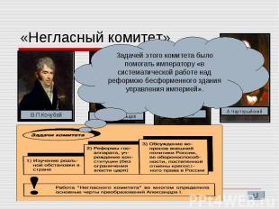 «Негласный комитет» Задачей этого комитета было помогать императору «в системати