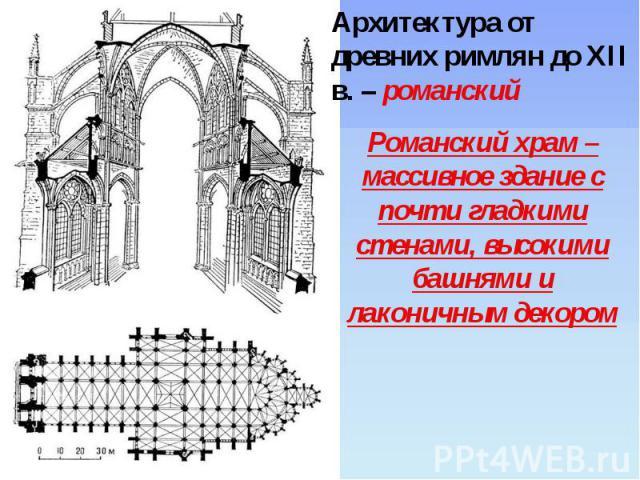Архитектура от древних римлян до XII в. – романский Романский храм – массивное здание с почти гладкими стенами, высокими башнями и лаконичным декором