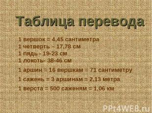 Таблица перевода 1 вершок = 4,45 сантиметра 1 четверть – 17,78 см 1 пядь - 19-23