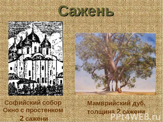 Сажень Софийский собор Окно с простенком 2 сажени Мамврийский дуб, толщина 2 сажени