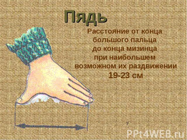 Пядь Расстояние от конца большого пальца до конца мизинца при наибольшем возможном их раздвижении 19-23 см