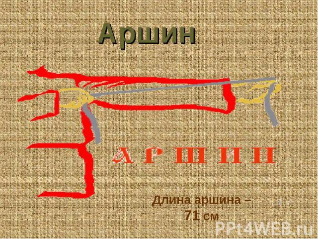 Аршин Длина аршина – 71 см