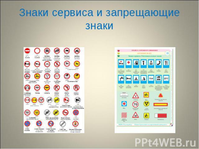 Знаки сервиса и запрещающие знаки