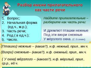 Разбор имени прилагательного как части речи Вопрос; Начальная форма (ед.ч., м.р.