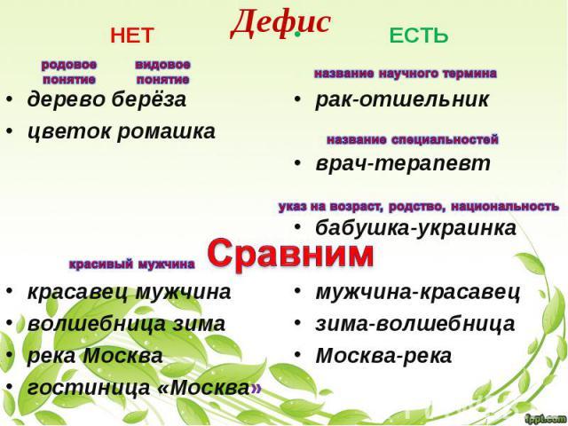 Дефис НЕТ дерево берёза цветок ромашка красавец мужчина волшебница зима река Москва гостиница «Москва» ЕСТЬ рак-отшельник врач-терапевт бабушка-украинка мужчина-красавец зима-волшебница Москва-река