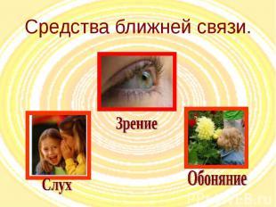 Средства ближней связи. Слух Зрение Обоняние