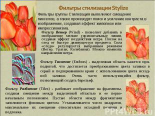 Фильтры стилизации Stylize Фильтры группы Стилизация выполняют смещение пикселов