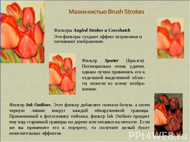 Мазки кистью Brush Strokes Фильтры Angled Strokes и Crosshatch Эти фильтры создают эффект штриховки и затемняют изображение. Фильтр Spatter (Брызги). Потенциально очень удачен, однако лучше применять его к отдельной выделенной облас-ти, нежели ко вс…