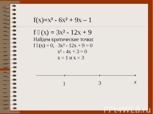 f(x)=x³ - 6x² + 9x – 1 f ´(x) = 3x² - 12x + 9 Найдем критические точки: f ´(x) =