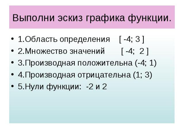 Выполни эскиз графика функции. 1.Область определения [ -4; 3 ] 2.Множество значений [ -4; 2 ] 3.Производная положительна (-4; 1) 4.Производная отрицательна (1; 3) 5.Нули функции: -2 и 2
