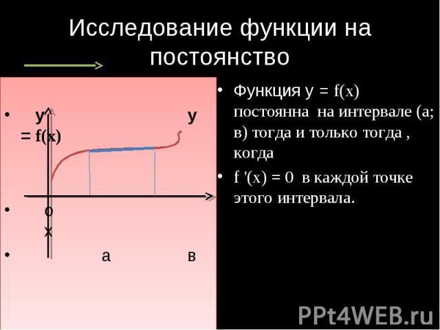 Исследование функции на постоянство Функция у = f(x) постоянна на интервале (а; в) тогда и только тогда , когда f '(x) = 0 в каждой точке этого интервала.