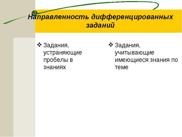 Направленность дифференцированных заданий Задания, устраняющие пробелы в знаниях Задания, учитывающие имеющиеся знания по теме