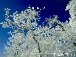 осадки Дождь Снег Туман Роса Град