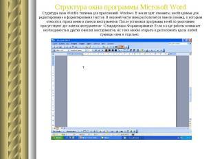 Структура окна программы Microsoft Word Структура окна Word9х типична для прилож