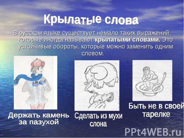 Крылатые слова В русском языке существует немало таких выражений, которые иногда называют крылатыми словами. Это устойчивые обороты, которые можно заменить одним словом. Держать камень за пазухой Сделать из мухи слона Быть не в своей тарелке