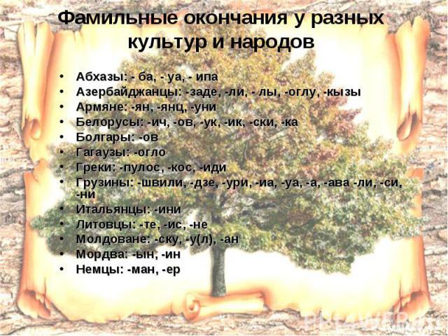 Фамильные окончания у разных культур и народов Абхазы: - ба, - уа, - ипа Азербайджанцы: -заде, -ли, - лы, -оглу, -кызы Армяне: -ян, -янц, -уни Белорусы: -ич, -ов, -ук, -ик, -ски, -ка Болгары: -ов Гагаузы: -огло Греки: -пулос, -кос, -иди Грузины: -шв…