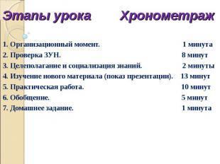 Этапы урока Хронометраж 1. Организационный момент. 1 минута 2. Проверка ЗУН. 8 м