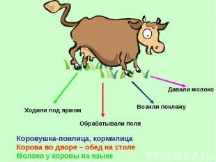 Коровушка-поилица, кормилица Корова во дворе – обед на столе Молоко у коровы на